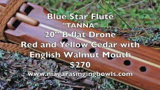 "Tana 20"" B flat Drone Yellow and Red Cedar Blue Star Flute"