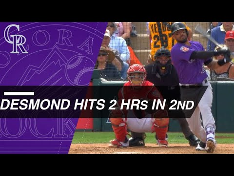 Ian Desmond Clubs Two Homers in the 2nd Inning Against the Angels