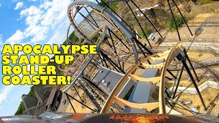 Riding Apocalypse Stand Up Roller Coaster at Six Flags America! Front Seat POV! 4K 60FPS