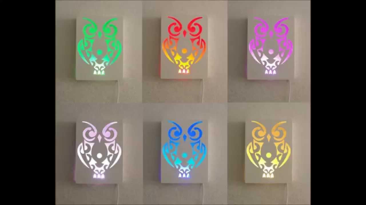 Uil Schilderij/ lamp met led verlichting nieuw! Hoahoa - YouTube