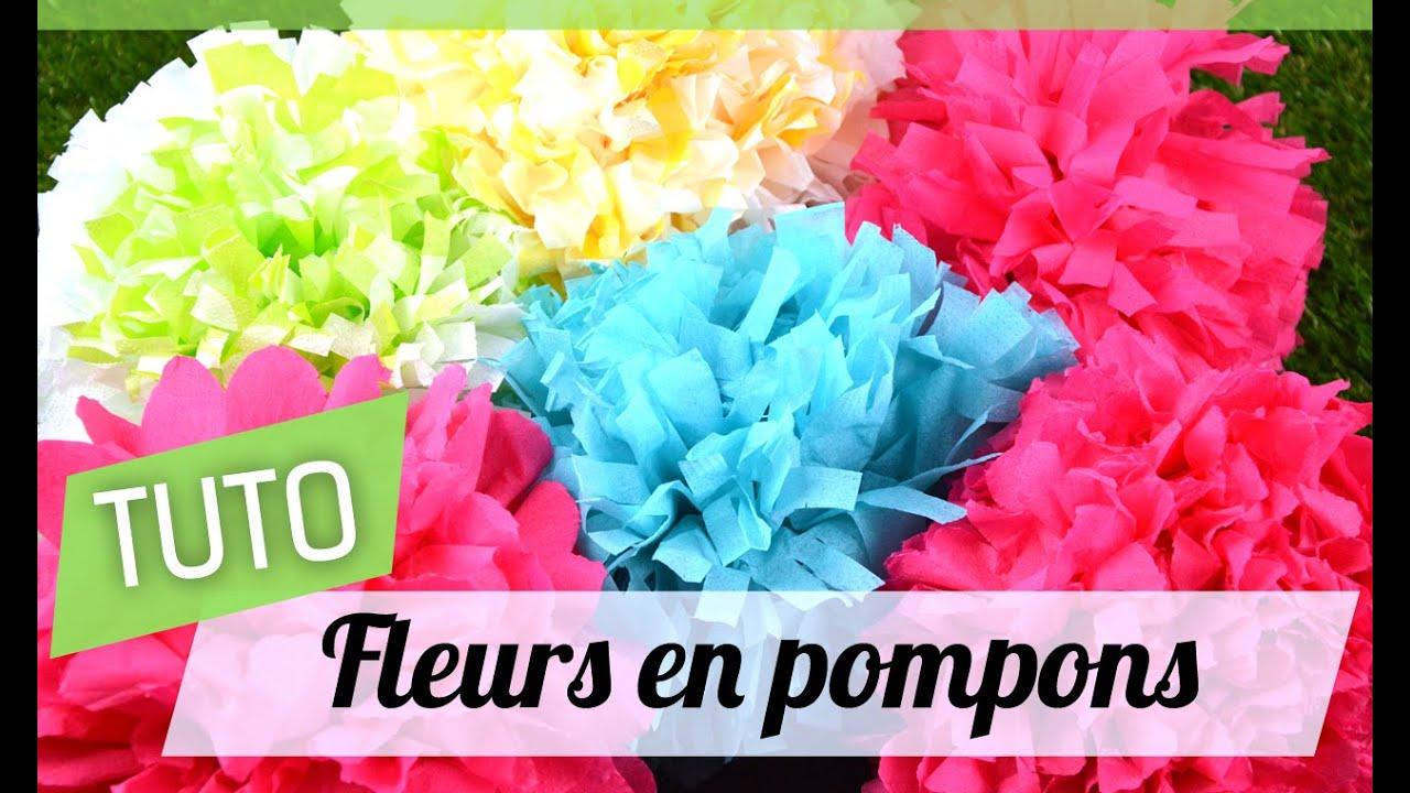 Très Tutoriel : Fleur en pompons - YouTube RH15