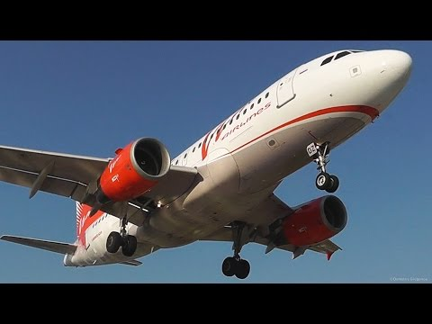 Vim Airlines A319-Low Landing & Takeoff from Skiathos-Bike thrown to ground-Jetblast-Plane Spotting