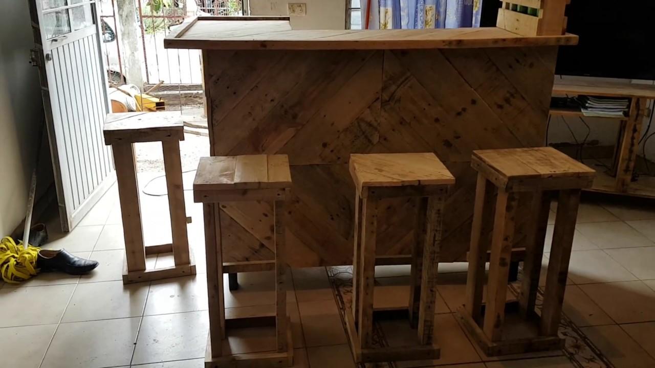 Cantinita con madera de tarimas barra hecha con palets - Barra de bar madera ...