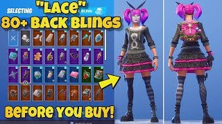 "NEW ""LACE"" SKIN Showcased With 80+ BACK BLINGS! Fortnite Battle Royale (BEFORE YOU BUY LACE)"