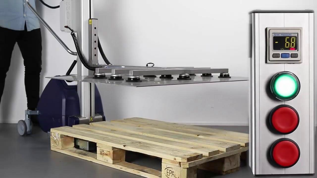 Implemento con ventosas para manipular planchas de acero