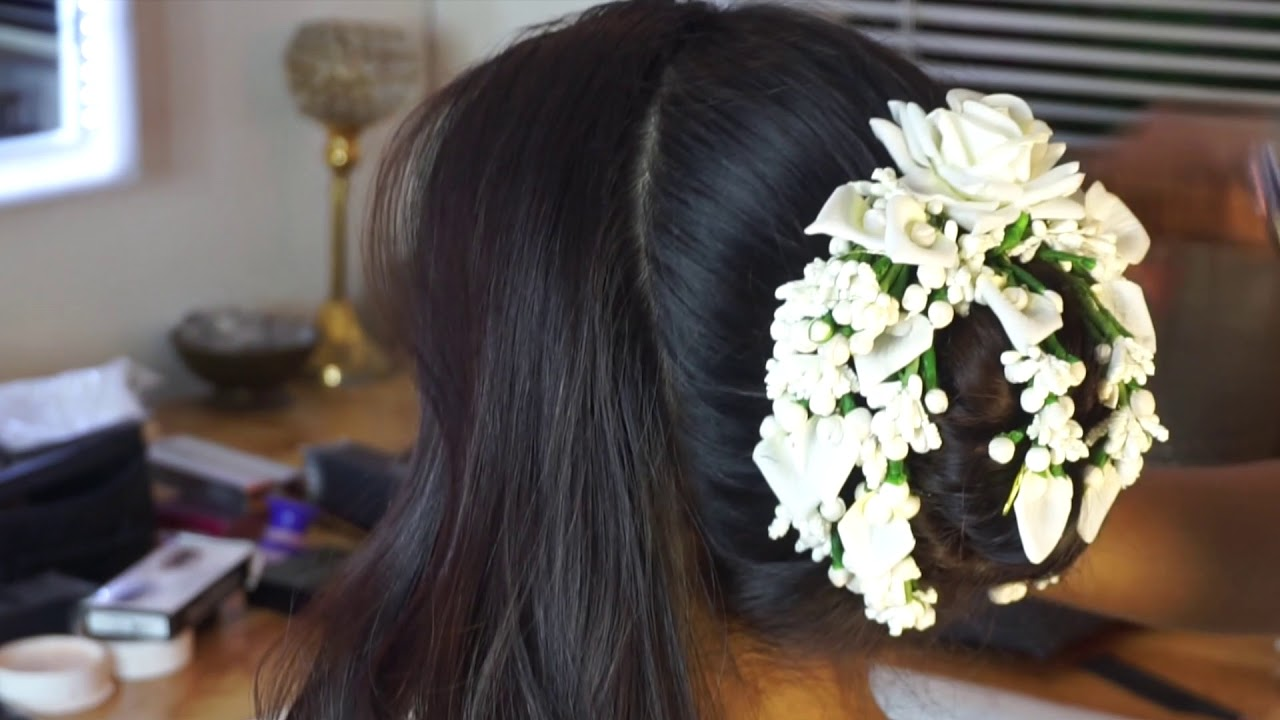 Marathi Wedding Hair Style Traditional Floral Bun For Family Party Youtube