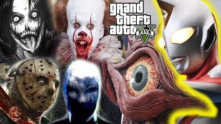 GTA 5 Mod - Jeff The Killer Slenderman Pannywise Jason Giải Cứu Quái Vật Khổng Lồ Một Mắt   Big Bang