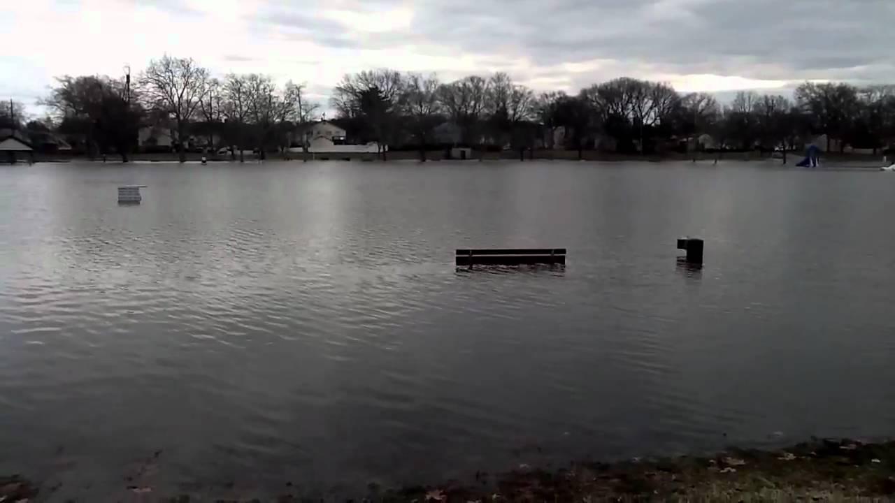 Flooding at Memorial Pool in Fair Lawn