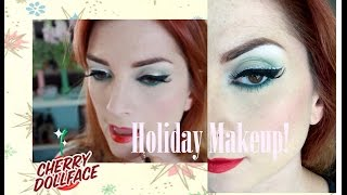 Green and Silver Christmas Holiday Vintage Makeup Tutorial by CHERRY DOLLFACE Thumbnail