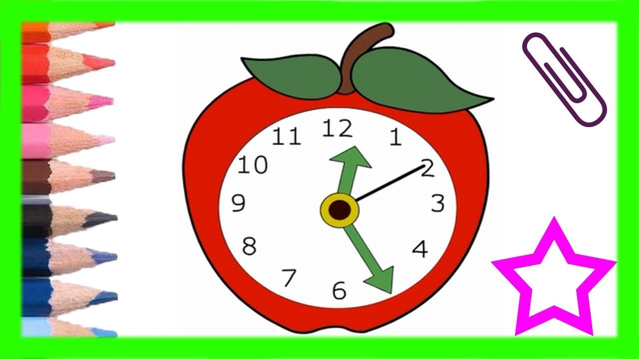 Clock Drawing for kids | drawing video for children | painting clock ...