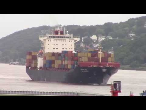 Container Ship SCI MUMBAI inbound into Hamburg, Germany on Elbe River (June 16, 2015)