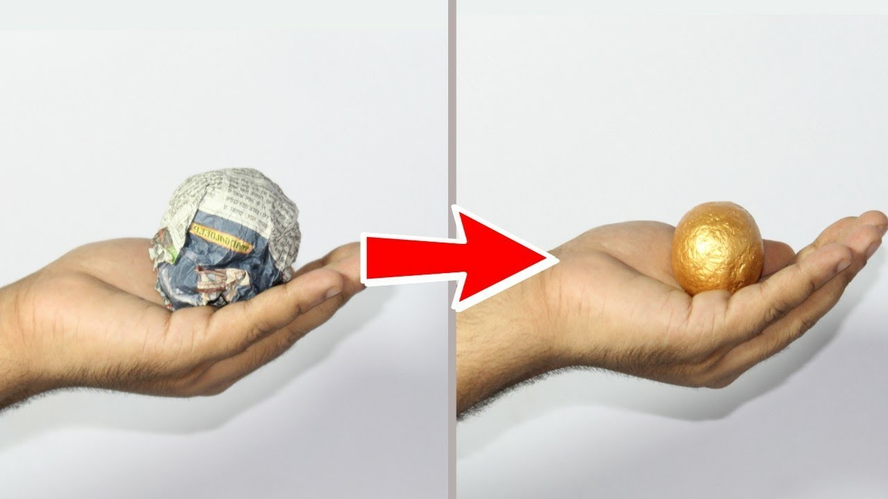 Turn Newspaper Into Golden Ball | Best Out Of Waste News paper Craft Idea | Basic Craft