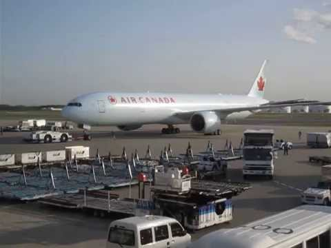 Air Canada Boeing 777-300ER Being Pushed Out Of The Gate At Tokyo Narita International Airport