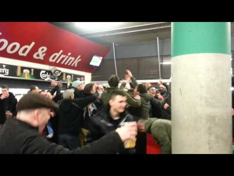 Coventry fans at Arsenal. Half time.