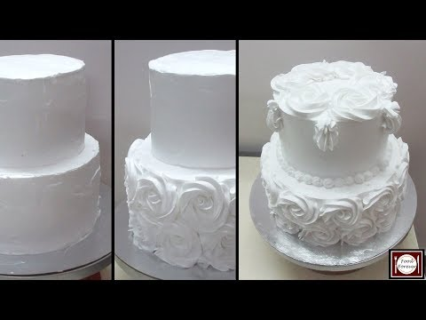 how-to-decorate-a-two-tiered-cake-with-whipped-cream-|-plain-&-simple-white-elegant-cake