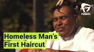 Homeless Man tells his story while getting Haircut | Street Cuts