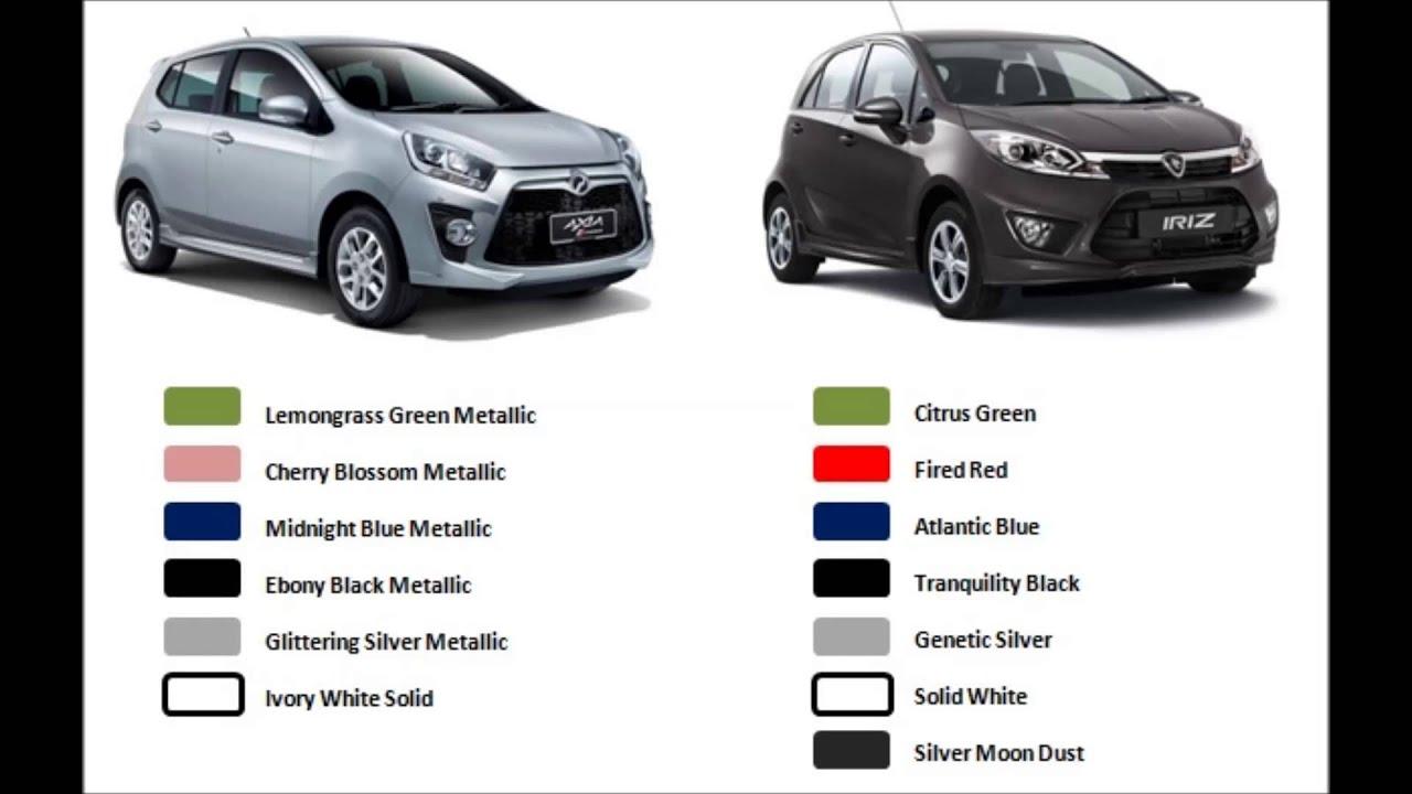 Car colour codes - Proton Iriz Vs Perodua Axia Part 7 Colour