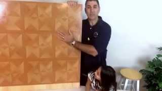 Peel & Stick Vinyl Floor Tile - Diamond Wood Parquet Pattern
