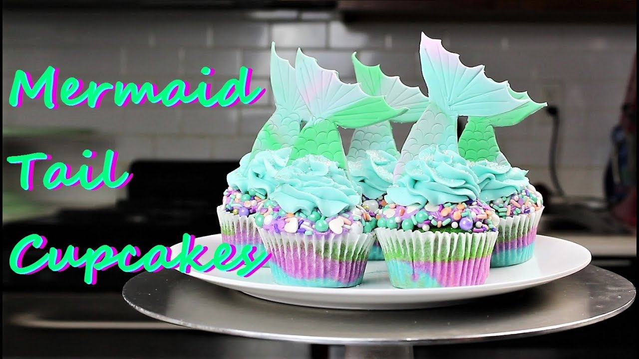 Mermaid Tail Cupcakes CHELSWEETS YouTube
