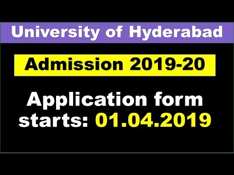 "University of Hyderabad""HCU"" admission/Application notification 2019-20"