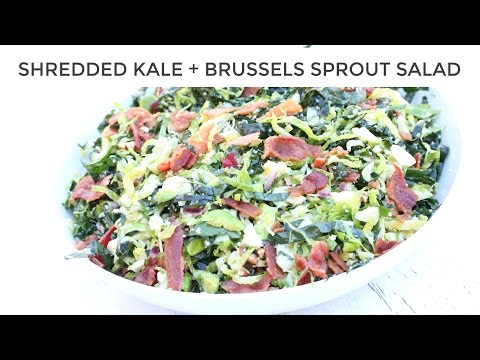 Kale Salad Recipe with Brussels Sprout +Bacon