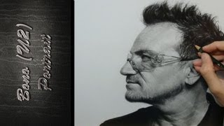 Bono U2 Portrait Drawing Realistic