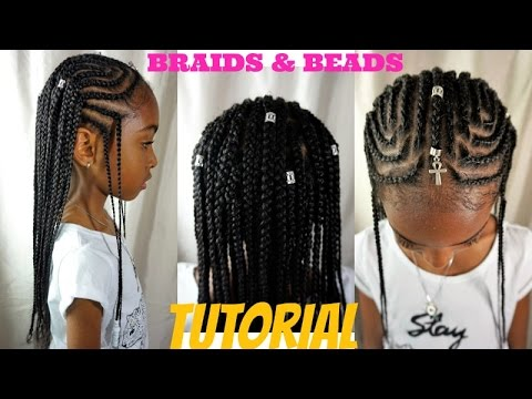 Kids Natural Hair Styles Braids Beads Tutorial Alicia Keys Fulani Inspired Youtube