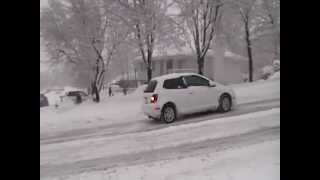 Honda Civic backwards down 400 north Cars Sliding in Bountiful, UT, 400 north 1/27/2013