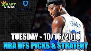 10/16/18 - NBA FanDuel & DraftKings Picks - Lineup Strategy