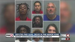 Seven charged after drugs and guns found in Pine Manor home