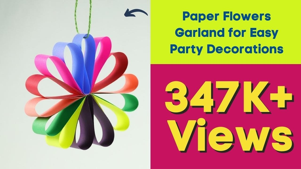 Diy hanging paper flowers garland for easy party for Fomic sheet decoration youtube