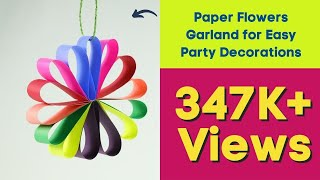 DIY Hanging Paper Flowers Garland for Easy Party Decorations on Budget