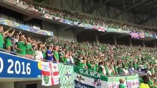 Northern Ireland fans sing Sweet Caroline at Ukraine match