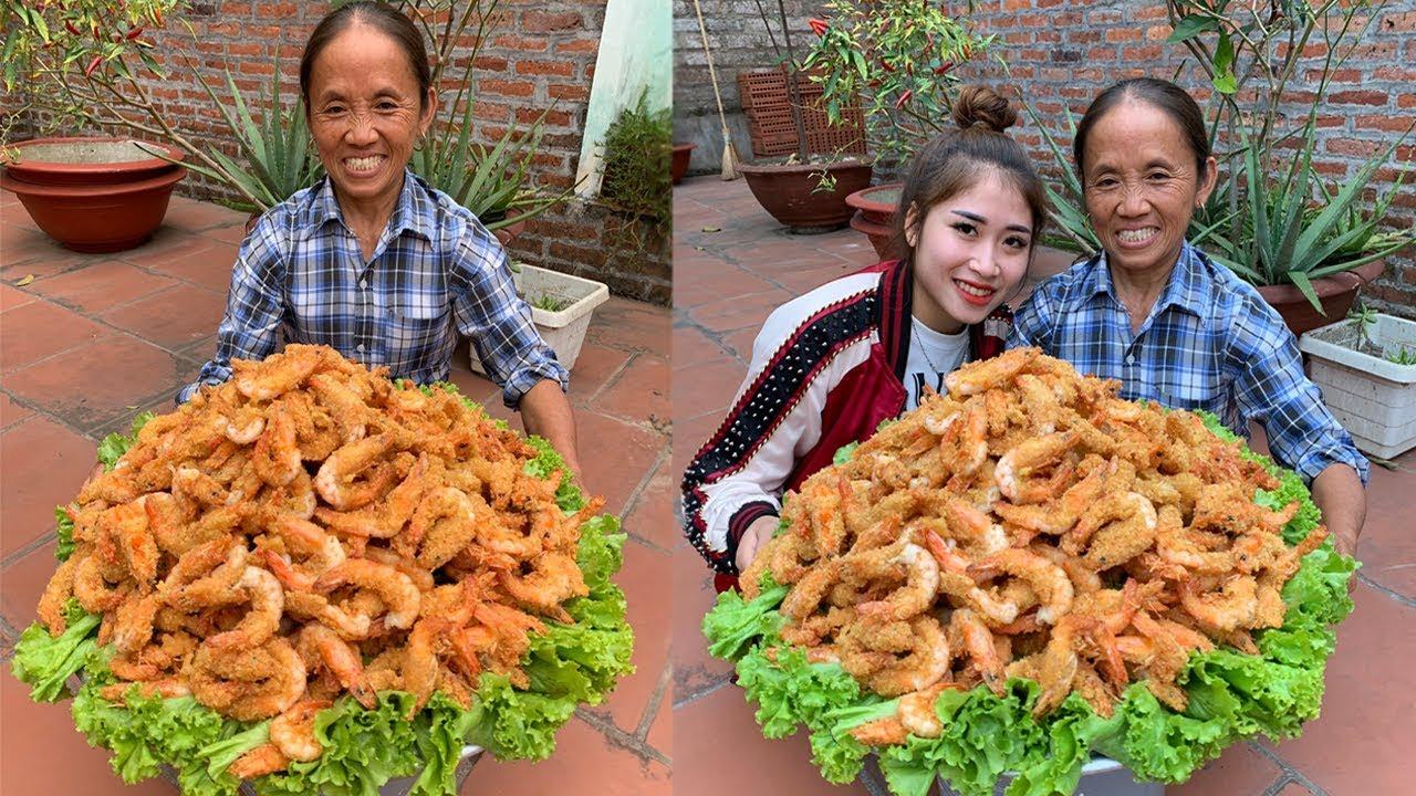 Bà Tân Vlog - Làm Đĩa Tôm Chiên Giòn Siêu To Khổng Lồ | fried shrimp