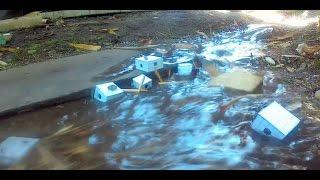 Model Cardboard Town Tsunami