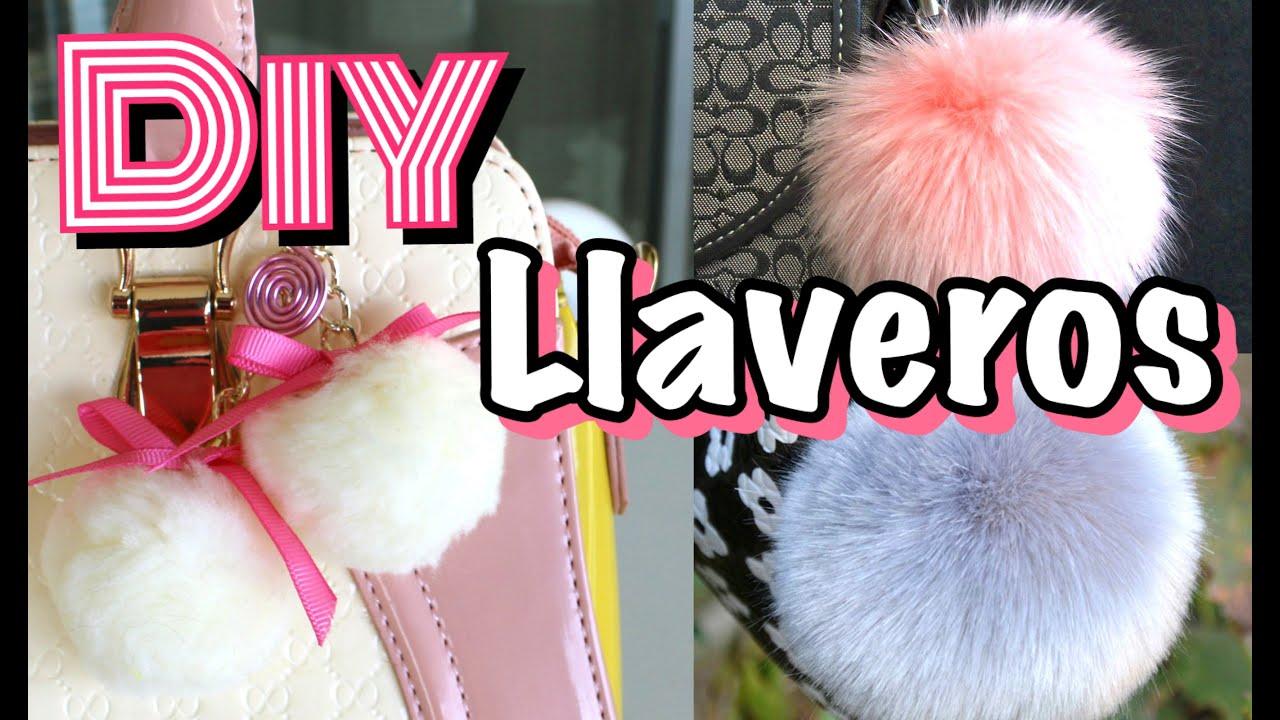 Diy llaveros pompones fur keychain mirianny youtube - Como hacer pompones con lana ...