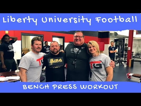 Liberty University Football Visit with a PR of 325 lb. Bench Press