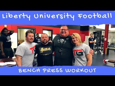 Liberty University Football Visit with a PR of 325 lb. Bench Press