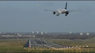Impressive Airport runway efficiency Boeing 737 takeoff while Airbus a320 is landing behind