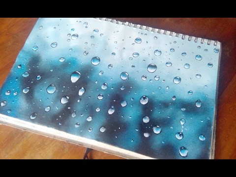 How to paint water drops in acrylics- water drops on glass