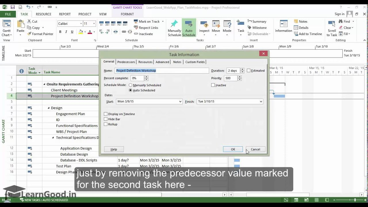 Microsoft Project 2013 Tutorial Understanding Task Modes Part 10