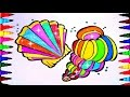 Fish Shells BEST LEARNING Coloring Book l Pages Ever Kids Learn Rainbow Colors Sea Shells Videos