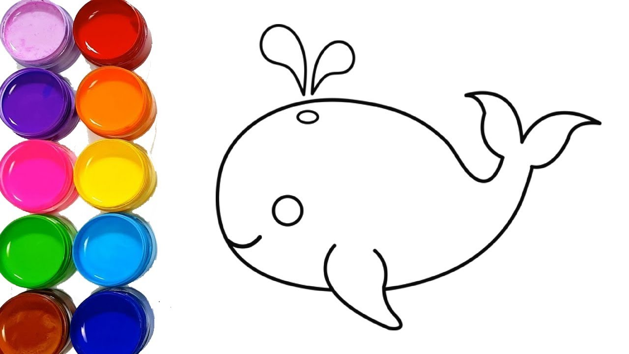 - Cute Whale Drawing And Coloring Pages Easy Step By Step For Kids