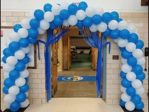 House party decoration ideas in white and blue color for Balloon decoration ideas youtube