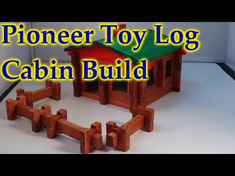 Roy Toy Paul Bunyan Pioneer Log Cabin Open Build - Watch It Build Itself! Like Lincoln Logs?
