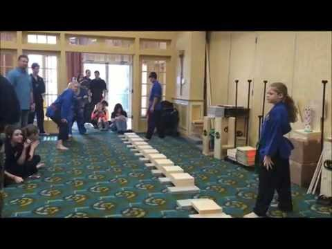 USBA/WBA Team World Record- The Smelt Family- 130 boards broken with stomps in 21 seconds- 11/2014