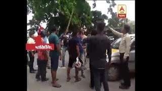 Agitation by the car drivers demanding safety near Siliguri National Transport bus stand