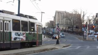 MBTA Streetcars Outbound on Commonwealth Ave. at Warren St. in Brighton, MA on March 8, 2014.