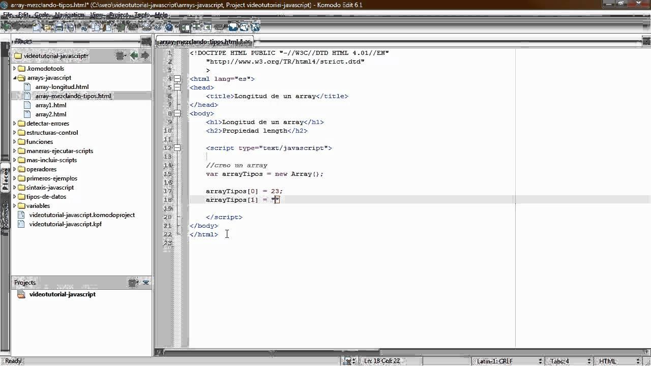 Videotutorial De Los Arrays En Javascript