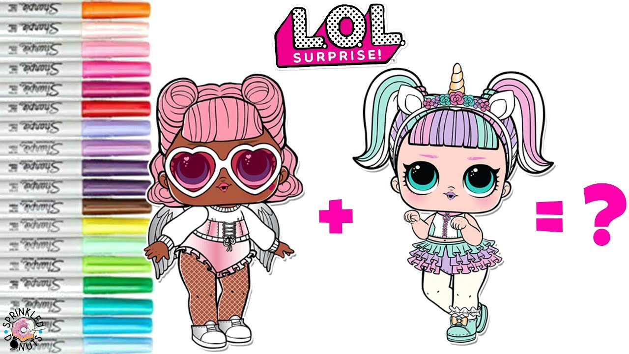 lol surprise dolls coloring book mash up unicorn and angel